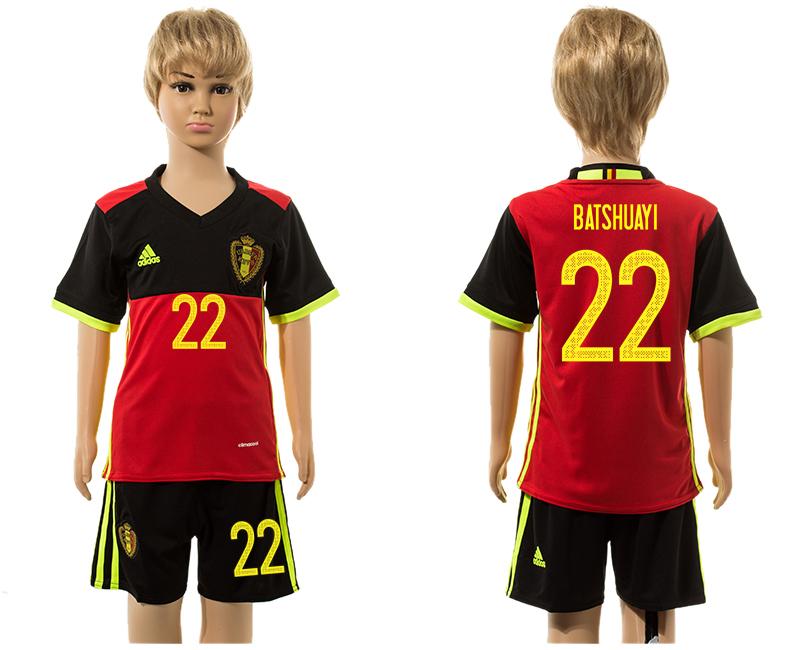 Belgium 22 BATSHUAYI Home Youth UEFA Euro 2016 Jersey