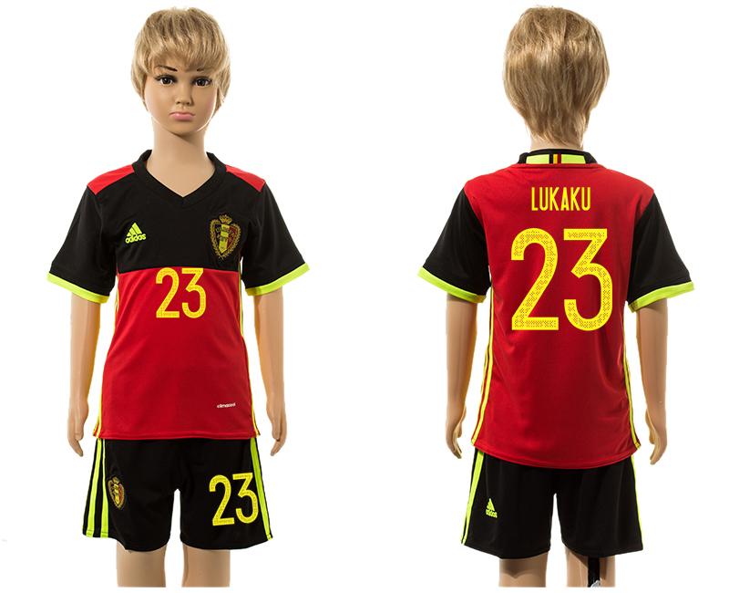 Belgium 23 LUKAKU Home Youth UEFA Euro 2016 Jersey
