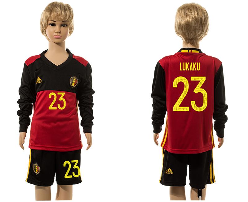 Belgium 23 LUKAKU Home Youth Long Sleeve UEFA Euro 2016 Jersey