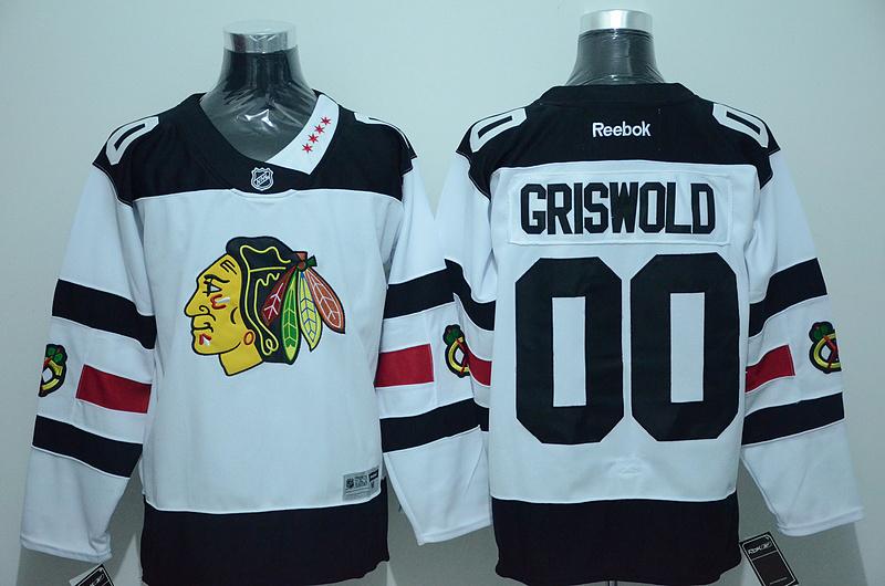 Blackhawks 00 Clark Griswold White 2016 Stadium Series Reebok Jersey