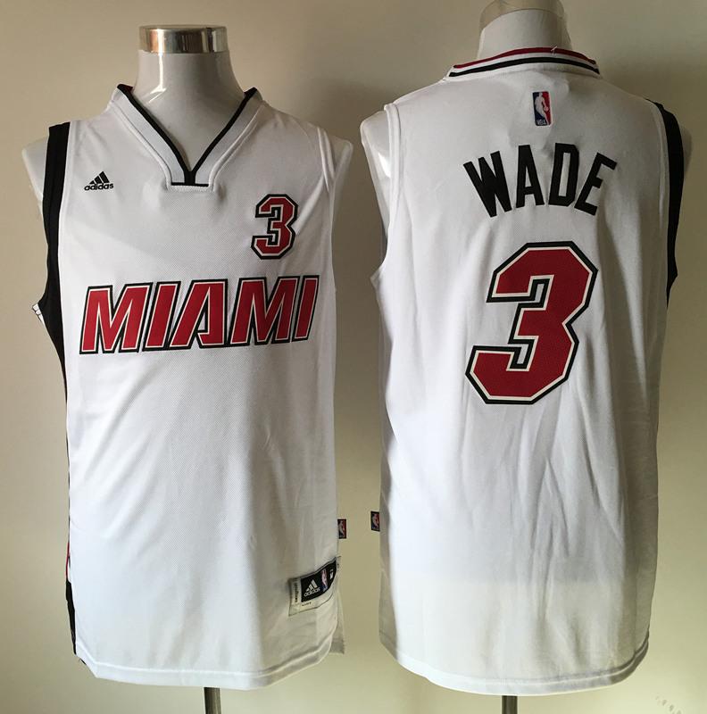 Heat 3 Dwyane Wade White Swingman Jersey