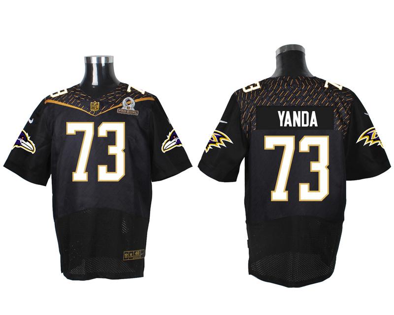 Nike Ravens 73 Marsha Yanda Black 2016 Pro Bowl Elite Jersey
