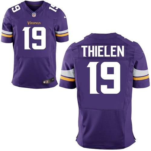 Nike Vikings 19 Adam Thielen Purple Elite Jersey