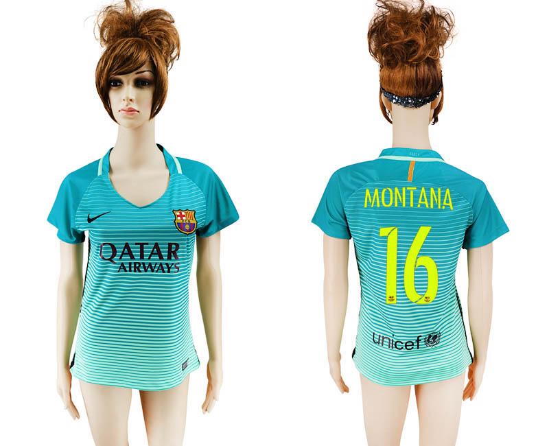2016-17 Barcelona 16 MONTANA Third Away Women Soccer Jersey