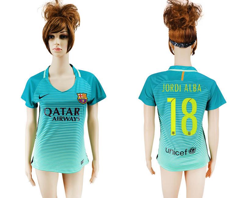 2016-17 Barcelona 18 JORDI ALBA Third Away Women Soccer Jersey