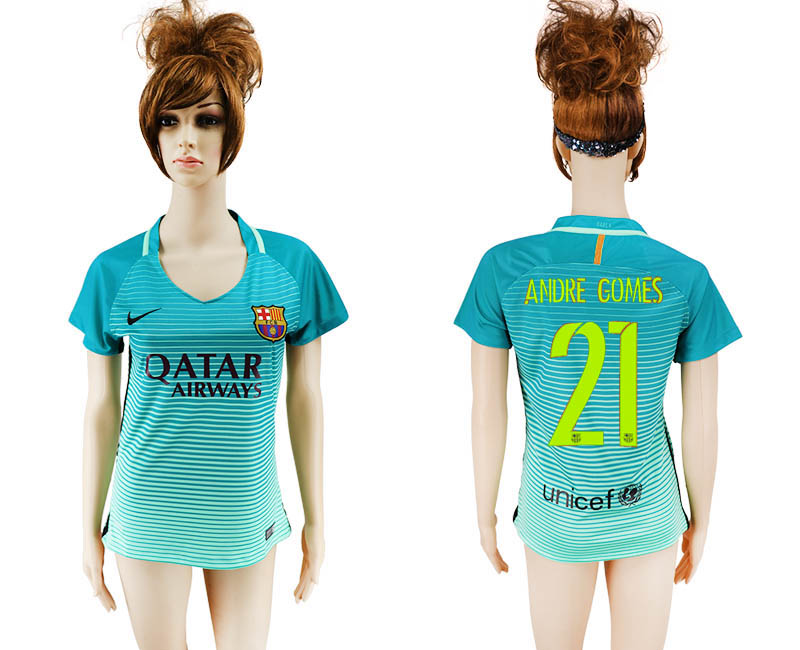 2016-17 Barcelona 21 ANDRE GOMES Third Away Women Soccer Jersey