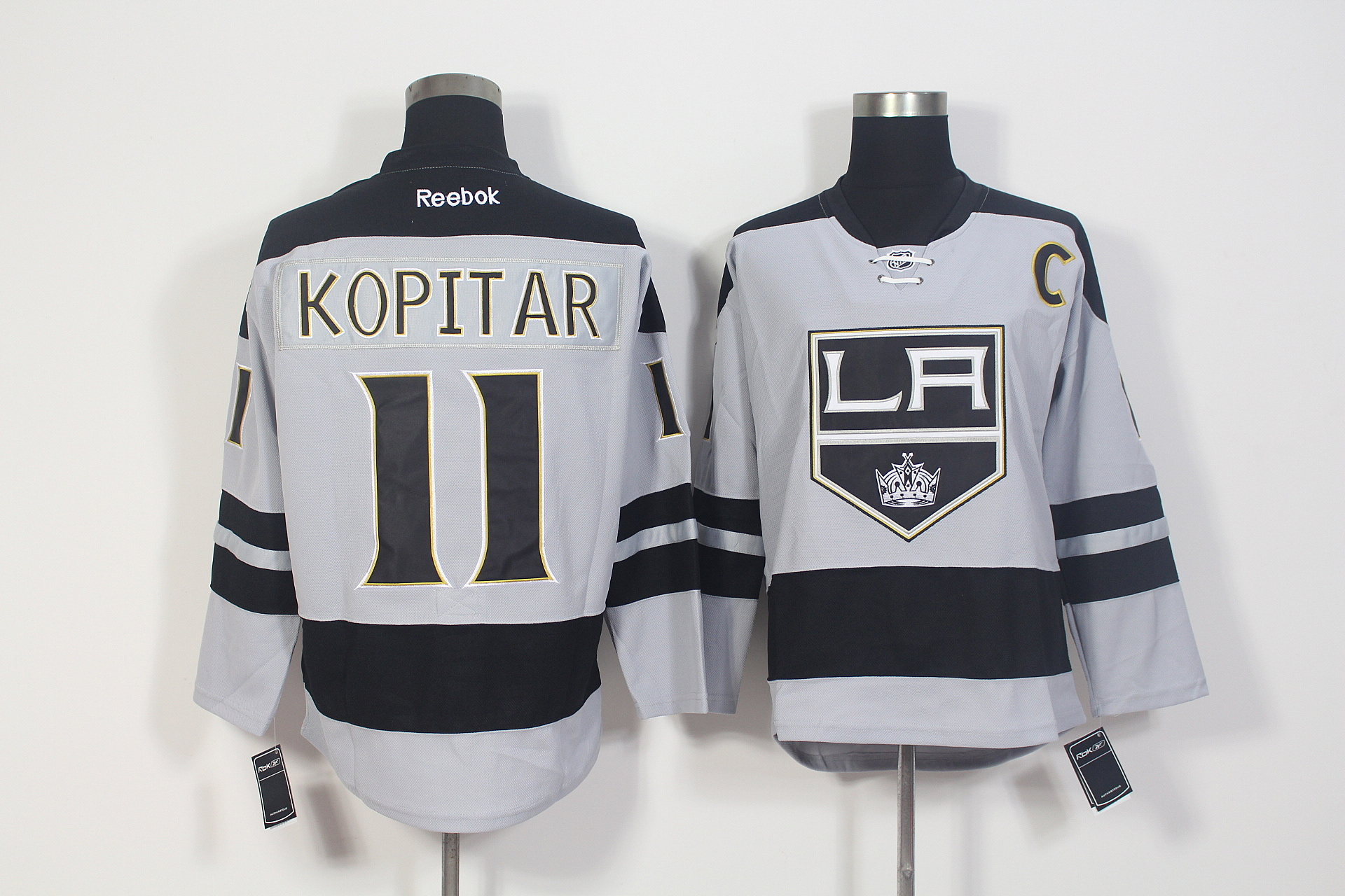 Kings 11 Anze Kopitar Grey Alternate Premier Reebok Jersey