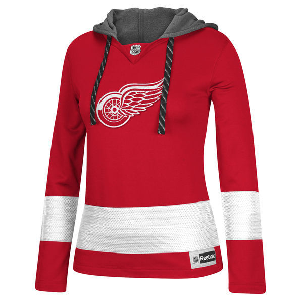 Detroit Red Wings Red All Stitched Women's Hooded Sweatshirt