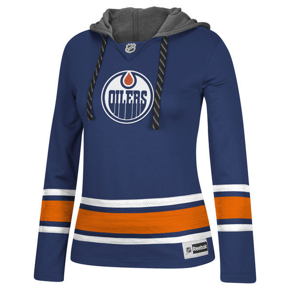 Edmonton Oilers Blue All Stitched Women's Hooded Sweatshirt