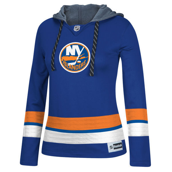 New York Islanders Blue All Stitched Women's Hooded Sweatshirt
