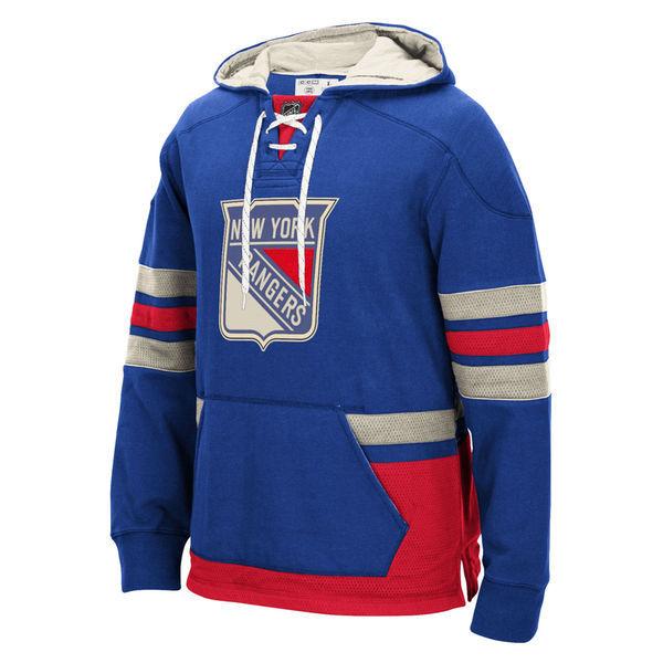 New York Rangers Blue All Stitched Men's Hooded Sweatshirt