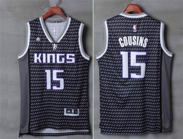 Kings 15 DeMarcus Cousins Black Swingman Jersey