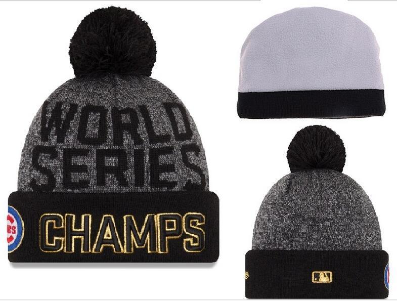 Cubs Grey 2016 MLB World Series Champions Knit Hat DF