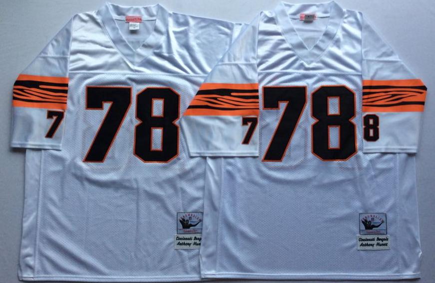 Bengals 78 Anthony Munoz White Throwback Jersey