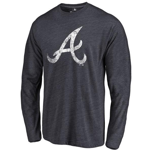 Atlanta Braves Distressed Team Long Sleeve Tri Blend T-Shirt Navy