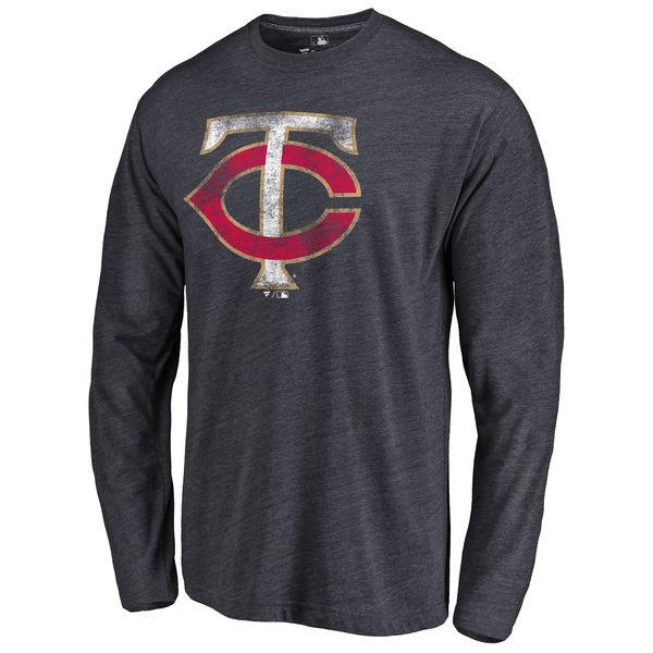 Minnesota Twins Distressed Team Long Sleeve Tri Blend T-Shirt Navy