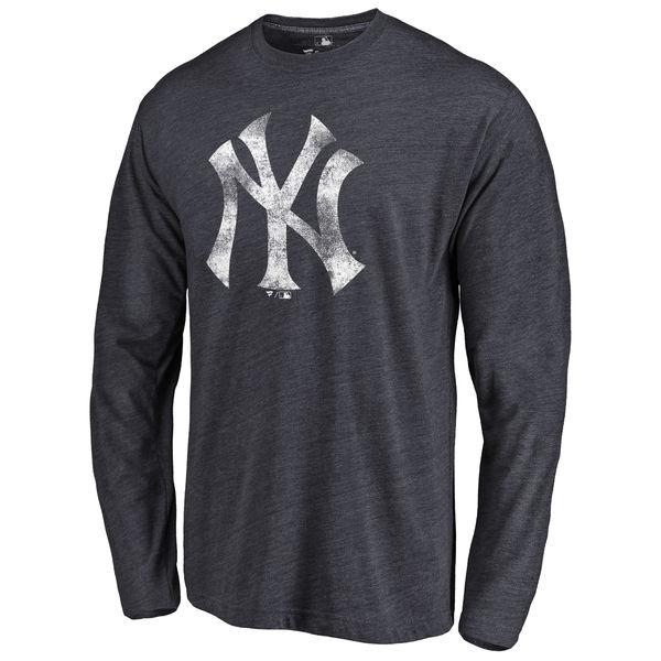 New York Yankees Distressed Team Long Sleeve Tri Blend T-Shirt Navy