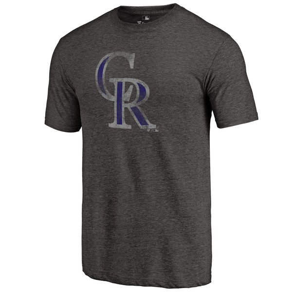 Colorado Rockies Distressed Team Tri Blend T-Shirt Heathered Black