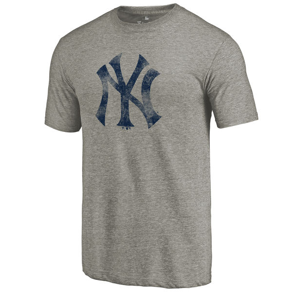 New York Yankees Distressed Team Tri Blend T-Shirt Ash