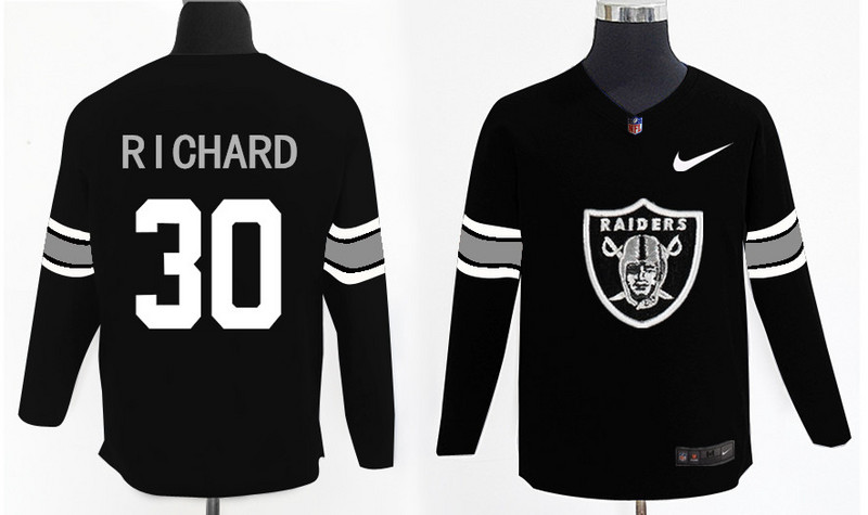Nike Raiders 30 Jalen Richard Black Knit Sweater