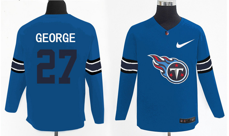 Nike Titans 27 Eddie George Light Blue Knit Sweater