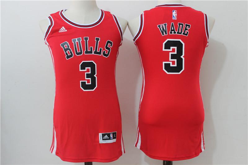 Bulls 3 Dwyane Wade Red Women Swingman Jersey