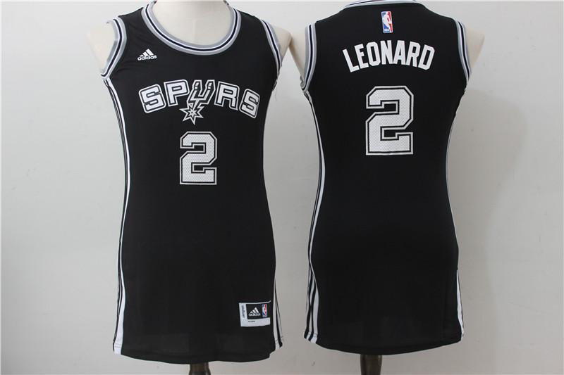 Spurs 2 Kawhi Leonard Black Women Swingman Jersey