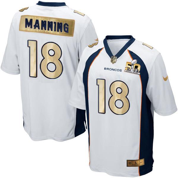 Nike Broncos 18 Peyton Manning White Super Bowl 50 Limited Jersey
