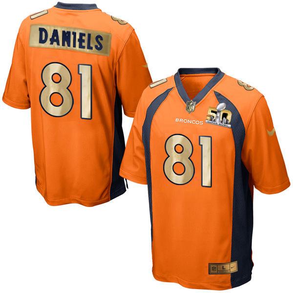 Nike Broncos 81 Owen Daniels Orange Super Bowl 50 Limited Jersey