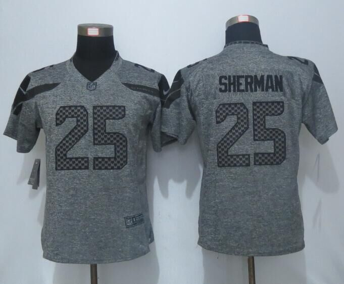 Nike Seahawks 25 Richard Sherman Grey Gridiron Women Limited Jersey