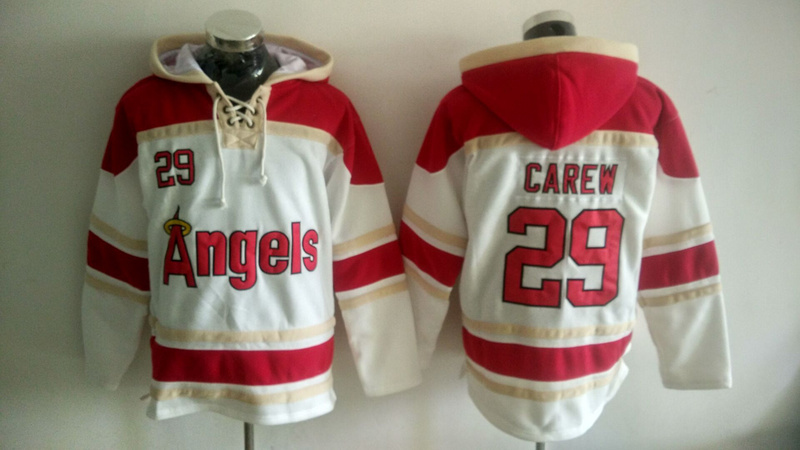 Angels 29 Rod Carew White All Stitched Hooded Sweatshirt