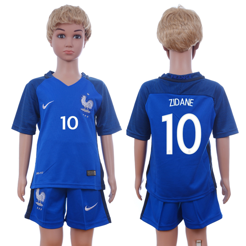 France 10 ZIDANE Home Youth UEFA Euro 2016 Soccer Jersey
