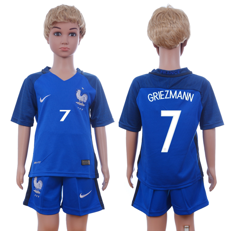 France 7 GRIEZMANN Home Youth UEFA Euro 2016 Soccer Jersey