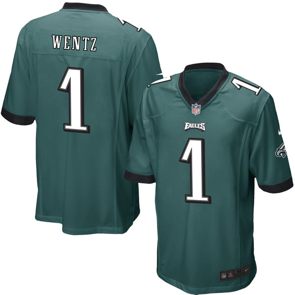 Nike Eagles 1 Carson Wentz Green 2016 Draft Pick Elite Jersey