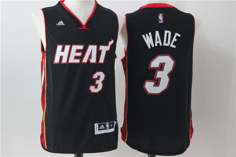 Heat 3 Dwayne Wade Black Swingman Jersey
