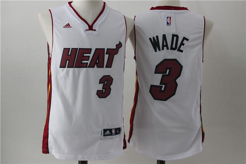 Heat 3 Dwayne Wade White Swingman Jersey