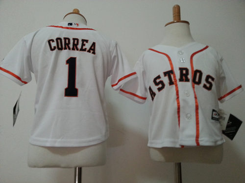 Astros 1 Carlos Correa White Toddler New Cool Base Jersey