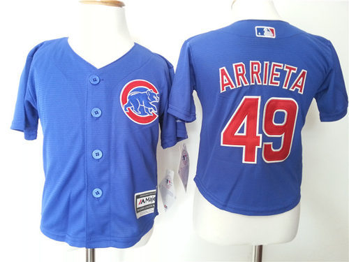 Cubs 49 Jake Arrieta Blue Toddler New Cool Base Jersey
