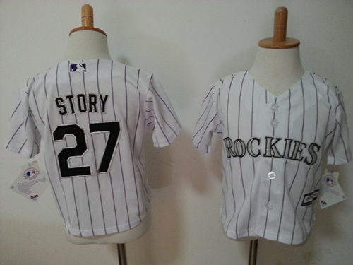 Rockies 27 Trevor Story White Toddler New Cool Base Jersey