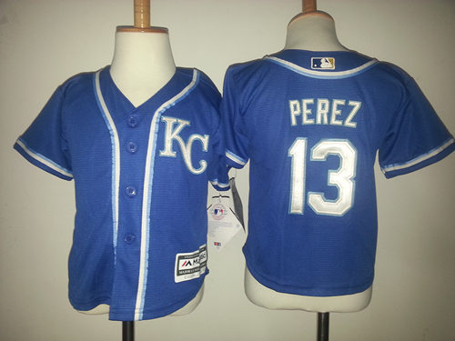 Royals 13 Salvador Perez Blue Toddler New Cool Base Jersey