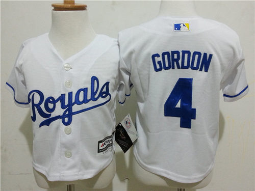 Royals 4 Alex Gordon White Toddler New Cool Base Jersey