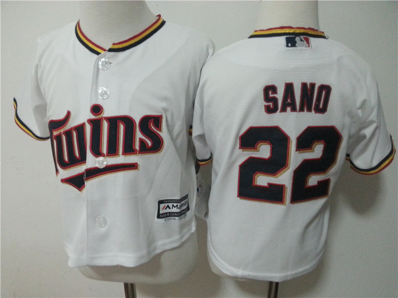 Twins 22 Miguel Sano White Toddler New Cool Base Jersey