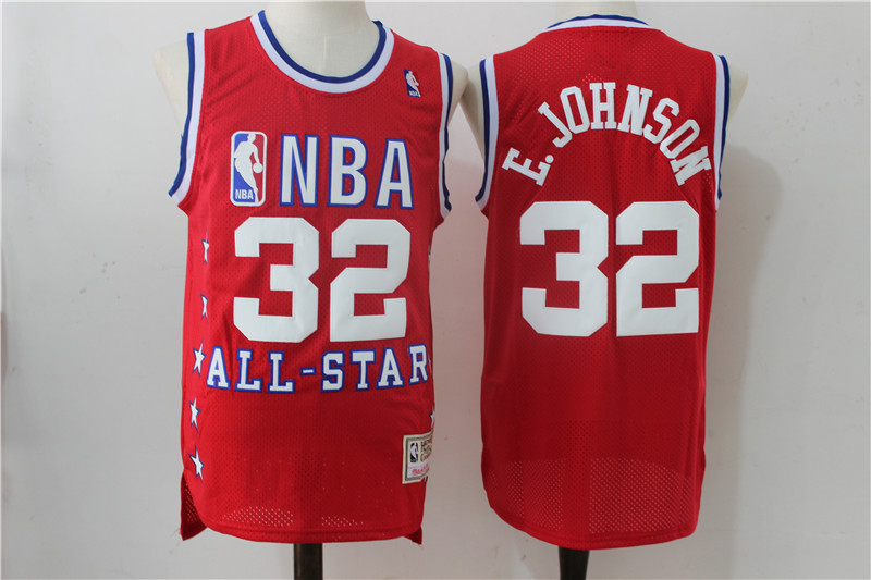 All Star 32 E.Johnson Red Hardwood Classics Jersey