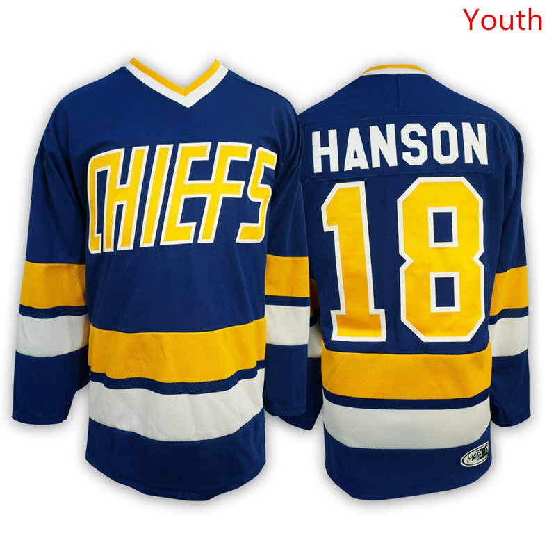 Hanson Brothers 18 Jeff Hanson Blue Stitched Youth Movie Jersey