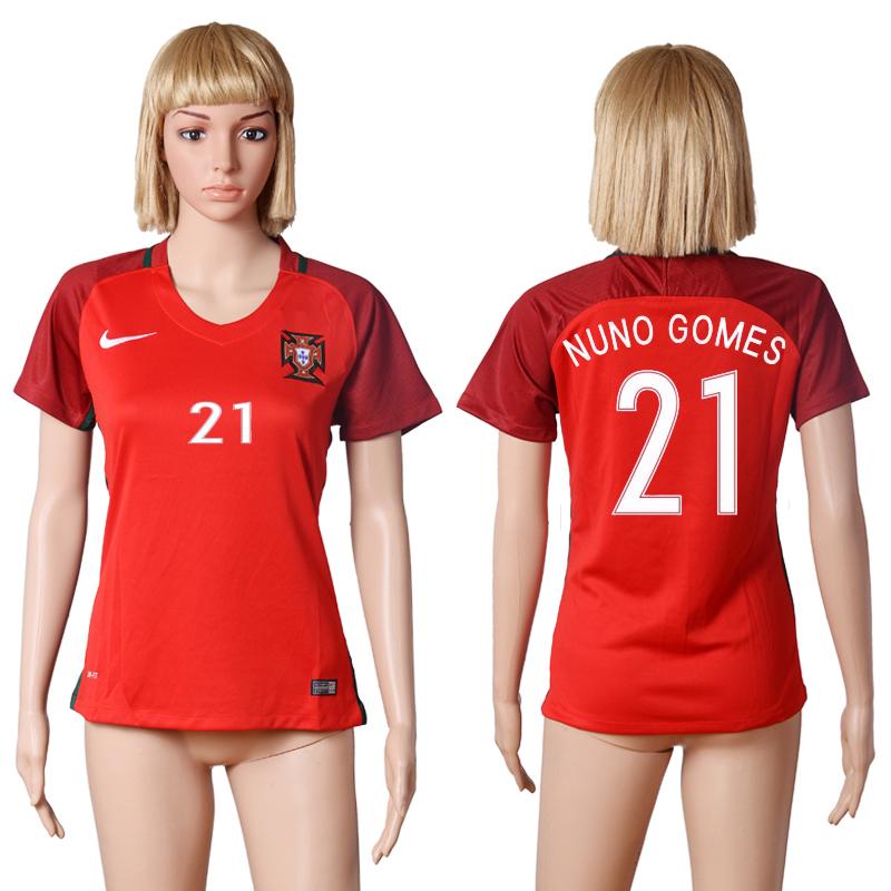 Portugal 21 NUNO GOMES Home UEFA Euro 2016 Women Soccer Jersey