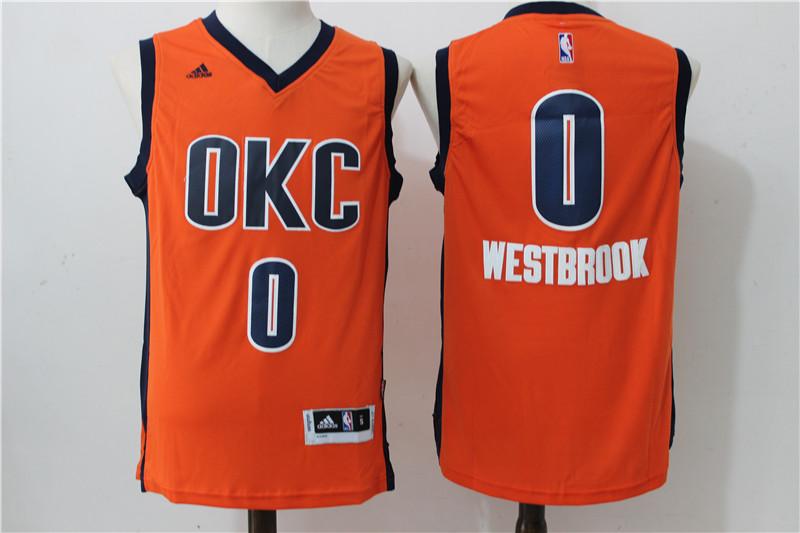 Thunder 0 Russell Westbrook Orange Swingman Jersey
