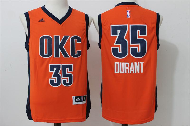 Thunder 35 Kevin Durant Orange Swingman Jersey