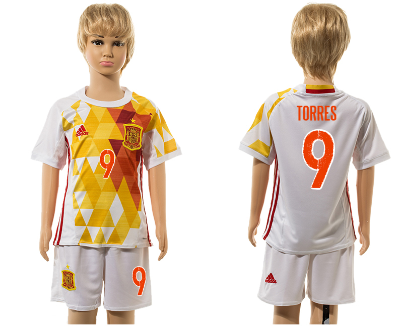 Spain 9 TORRES Away Euro 2016 Youth Soccer Jersey