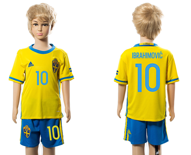 Sweden 10 IBRAHIMOVIC Home Youth Euro 2016 Soccer Jersey