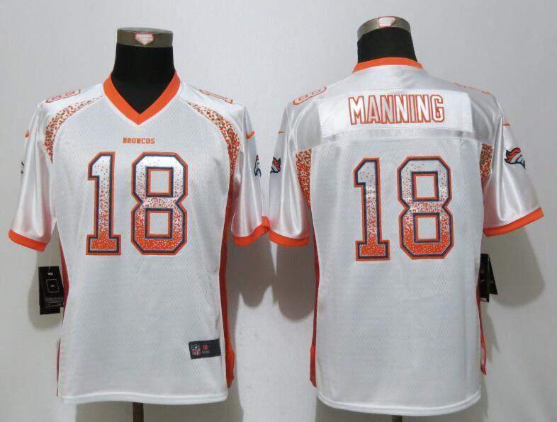 Nike Broncos 18 Peyton Manning White Women Drift Fashion Jersey